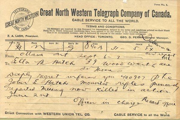 Telegram - July 6, 1916