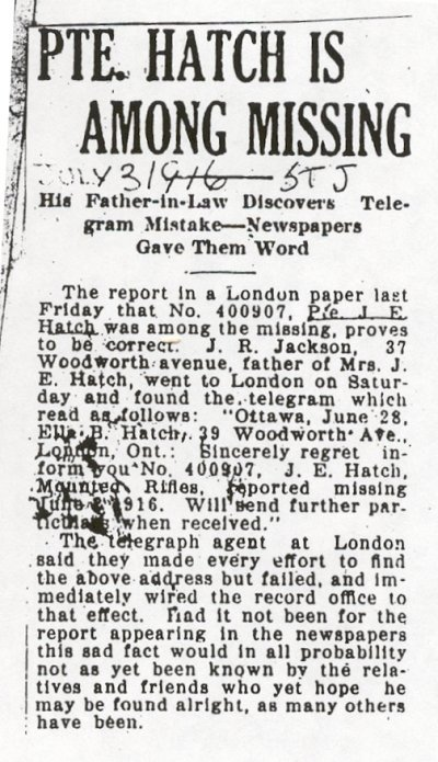 Press clipping - Reported missing