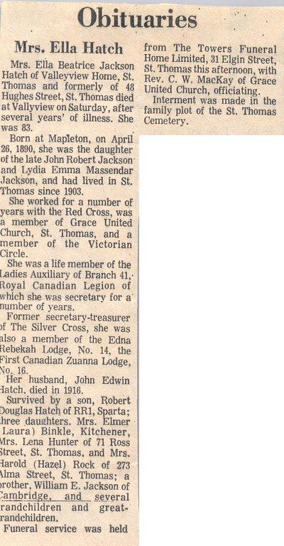 Obituary of Ella Hatch