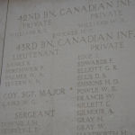 Inscription on Menin Gate (Ypres) Memorial– Photo courtesy of Sandi Neufeld.