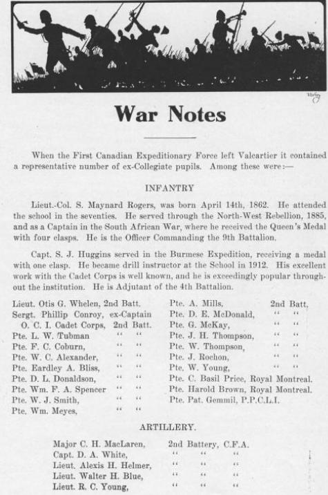 Lisgar Collegiate Institute yearbook– Lisgar Collegiate Institute yearbook 1914, war notes.
