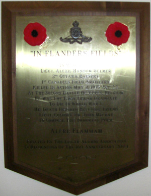 "Memorial– ""IN FLANDERS FIELDS"" IN MEMORY OF LIEUT. ALEXIS HANNUM HELMER 2ND OTTAWA BATTERY