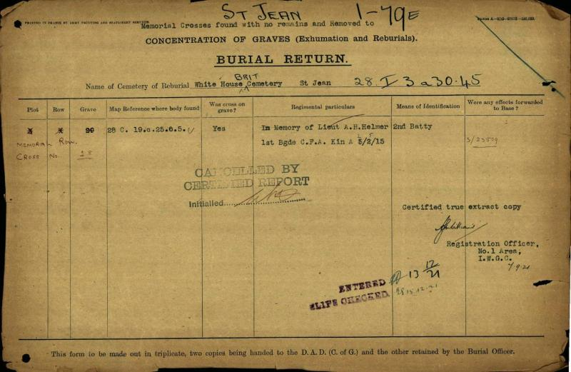 Burial Report– CWGC documents show Alexis Hanmer's body was originally buried at 28 C. 19.c.25.0.5 and later moved to the White House Cemetery at St-Jean-Le-Ypres  in Plot 3 Row X Grave 29.