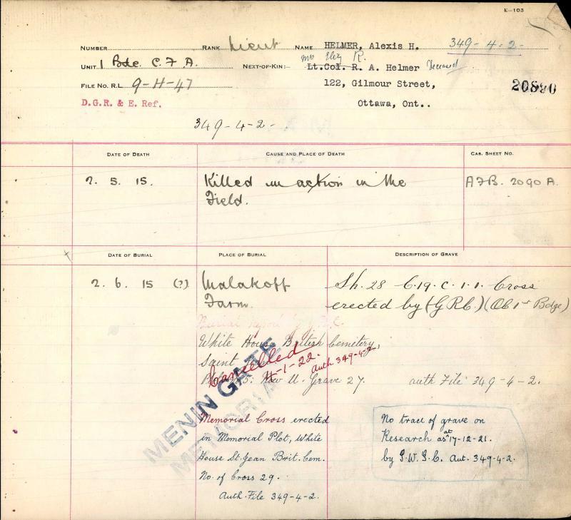 Circumstances of Death Registers– Lt Alexis Henmer grave registration - Menin Gate