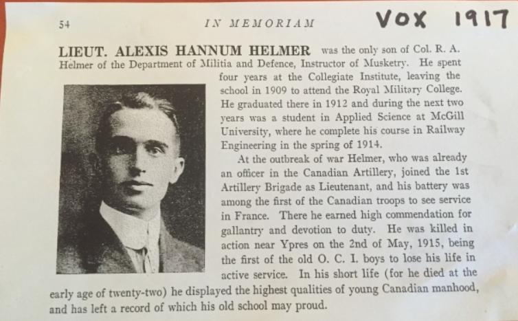 Biography– Lieut Alexis Hannum Helmer, Obit, Ottawa Collegiate Institute (now Lisgar Collegiate Institute).
