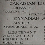 Inscription on Menin Gate (Ypres) Memorial– Detail from panel 10 on the Menin Gate, Ypres, Belgium, where Alexis Helmer is commemorated. Picture by the Dover War Memorial Project, England
