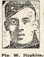 Newspaper clipping– Pte. Charles Walter Hopkins was born in Toronto, Ontario.  He enlisted in the 134th Battalion (48th Highlanders) C.E.F. in January 1916.  In honoured memory.