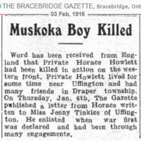 Newspaper clipping– Bracebridge Gazette 03-Feb-1916