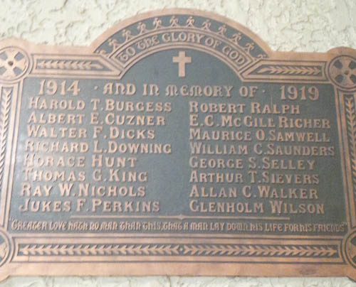 Memorial Plaque– St. Matthew's Anglican Church, 217 First Avenue, Ottawa, Ontario
