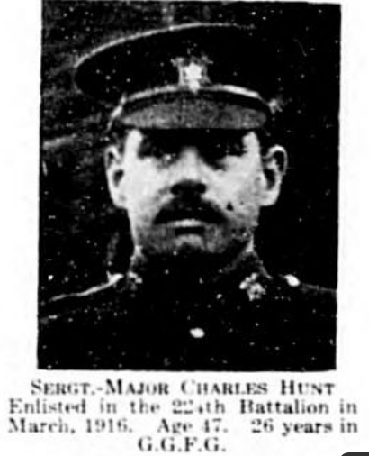 Newspaper clipping– Sergeant Major Charles A Hunt, the father of Private Horace Hunt, Our Heroes of the Great World War, Ottawa and environs