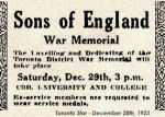 Sons of England War Memorial– Sons of England Benefit Society:  a notice of the December 29th, 1923 dedication and unveiling at University & College Streets (original location), detail from an S.O.E. membership certificate, and detail from the base of the Toronto Memorial.