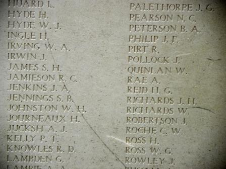 Menin Gate– Menin gate inscription. Photo by BGen (ret'd) G. Young, submitted by Capt (ret'd) V. Goldman 15th Bn Memorial Project.  DILEAS GU BRATH