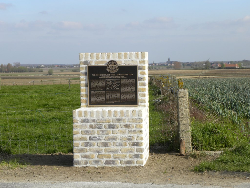 Regimental Memorial– Regimental Memorial 2nd Battle of Ypres located on Gravenstafel Ridge. Photo by BGen(ret'd) G. Young. Submitted by Capt(ret'd) victor Goldman, 15th Bn Memorial Project team.  DILEAS GU BRATH