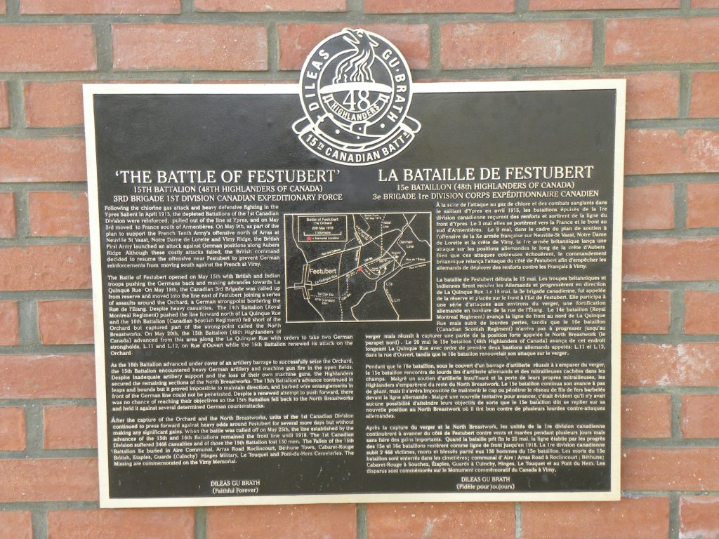 Memorial Plaque– Regimental Memorial 2nd Battle of Ypres located in St Julien. Photo by BGen(ret'd) G. Young. Submitted by Capt(ret'd) victor Goldman, 15th Bn Memorial Project team.  DILEAS GU BRATH