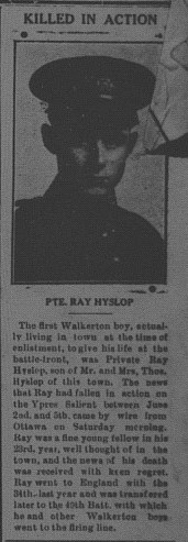 Newspaper clipping– This item comes from the Walkerton Telescope, June 22, 1916.