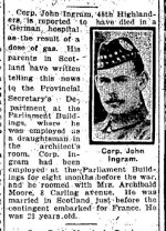 Newspaper Clipping– From the Toronto Star for 23 July 1915, page 13.