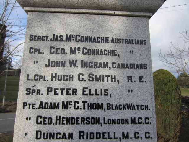 Inscription of John William Ingram– Inscription of John William Ingram's name on the War Memorial at Towie, Aberdeenshire, Scotland. Image taken 29 March 2015 by Tom Tulloch.
