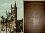 """Newspaper Clipping– 1914-1918 Memorial tablet, Bloor Street Presbyterian Church, 300 Bloor St.  West, Toronto, Ontario.  This congregation was established in 1887, and in  1925 became the Bloor Street United Church.  The tablet was unveiled on May  16th, 1920.  It was inscribed:  """"In memory of the men of Bloor Street  Presbyterian Church who went out to battle and died for Freedom's cause.    They feared not Death and meeting it they won the Victor's Crown."""""""