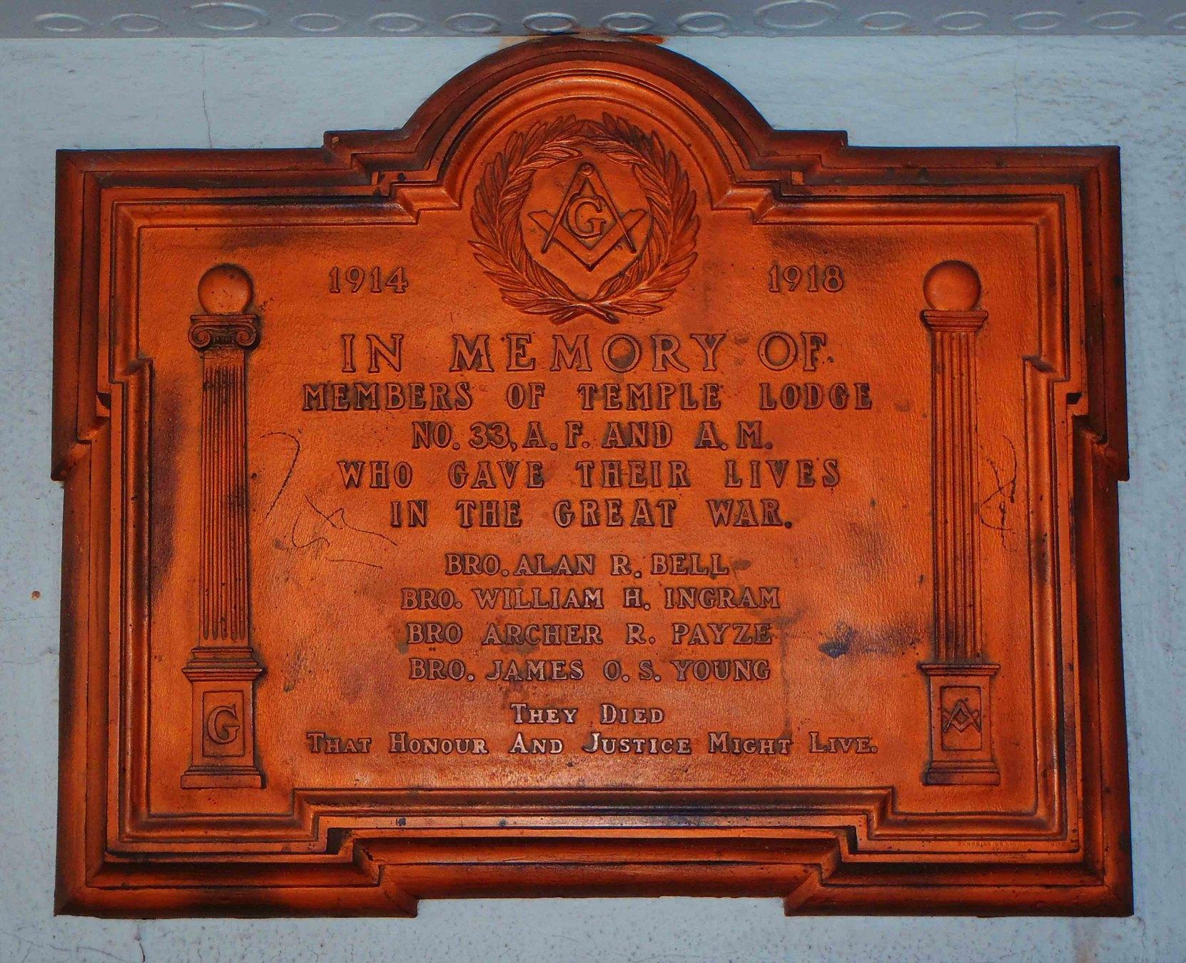 Memorial– Duncan Masonic Temple 33