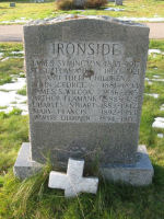 Family Memorial– Headstone in Family Plot, Old Greenwood Cemetery, Sault Ste. Marie, Ontario, remembering Private James Symington Wilcox Ironside. Photo provided by Padre Phil Miller, RCL, Branch 25. We Will Remember Them.