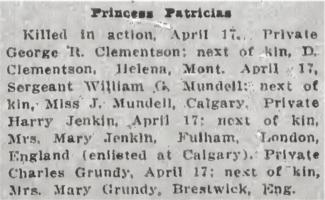 Newspaper clipping– from the Daily Colonist of April 27, 1915. Image taken from web address of https://archive.org/stream/dailycolonist57y118uvic#mode/1up