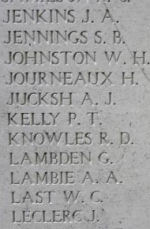 Inscription– Menin Gate panel where Private Sidney Jennings is commemorated.  Photo by BGen Young (ret) and submitted by Capt (ret) V Goldman of the 15th Bn Memorial Project.  DILEAS GU BRATH