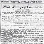 Press clipping– Appeared in the Winnipeg Evening Tribune on July 5, 1915.
