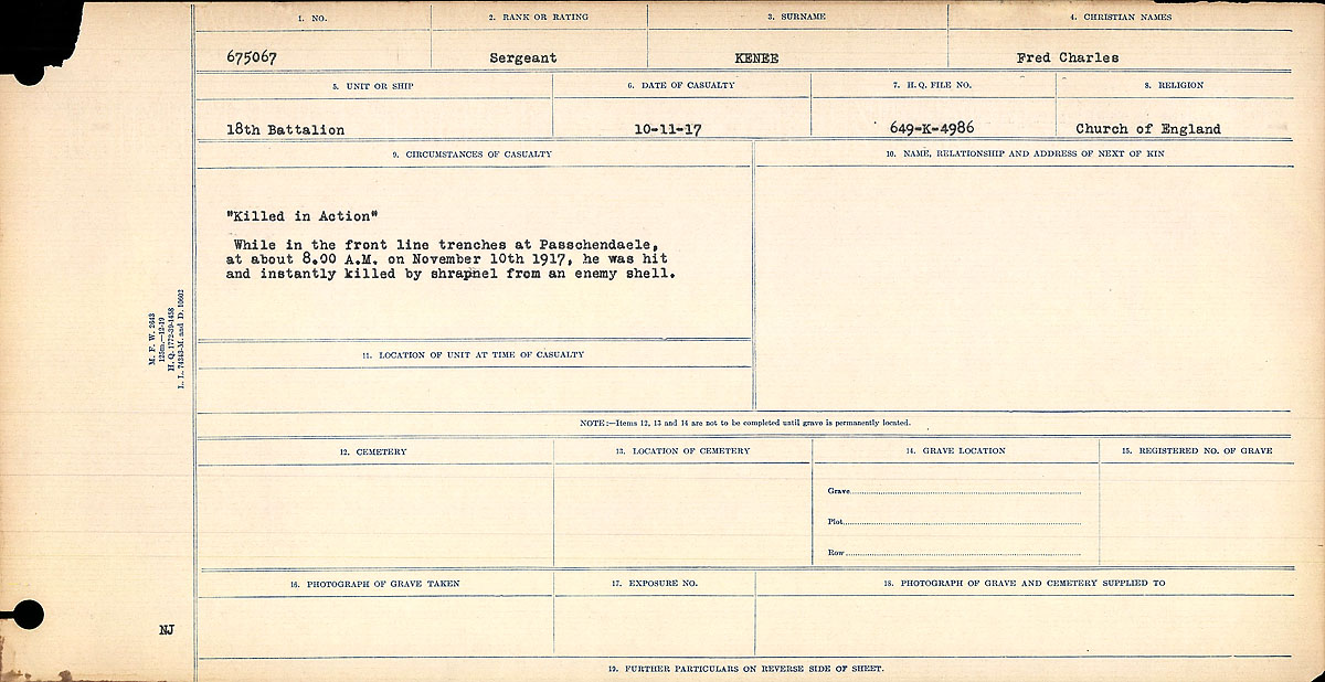 """Circumstances of Death– Circumstances of Death Register: """"Killed in Action"""" While in the front line at Passhendaele, at about 8.00 A.M. on November 10th, 1917, he was hit and instantly killed by shrapnel from an enemy shell."""