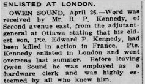 Newspaper clipping– From the London Free Press April 1916. Submitted for the project Operation Picture Me
