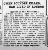 Newspaper clipping– London Advertiser. April 27, 1916. Page 9. Contributed by E.Edwards www.18thbattalioncef.wordpress.com