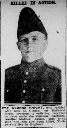 """Newspaper Clipping– Knight, George: Service no. 54163.  """"Killed in Action"""" Killed by concussion from a shell.  Source: Operation Picture Me via The 18th Battalion Facebook Group. London Free Press Circa 1916  Contributed by E.Edwards www.18thbattalioncef.wordpress.com"""