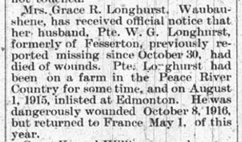 Newspaper clipping– Orillia Times, 06 Dec 1917
