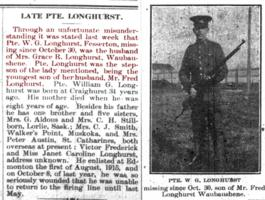 Newspaper clipping– Orillia Times, 13 Dec 1917.  Corrects erroneous information from 06 Dec 1917 publication.