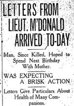 Newspaper Clipping– Letter published in the Toronto Star for 27 April 1915.