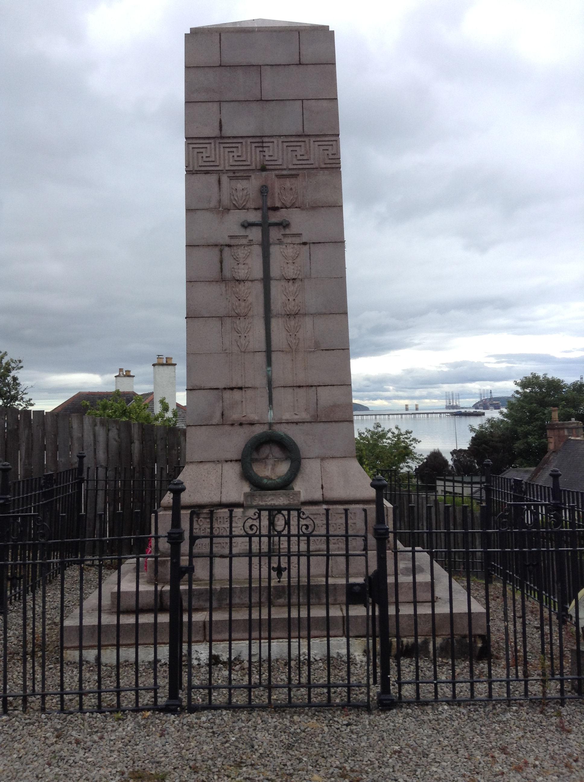 War Memorial– The War Memorial in Invergordon, Scotland, displaying the name believed to be Harry Dundas McGlashan (MacGlashan). Image taken 6 July 2017 by Tom Tulloch.