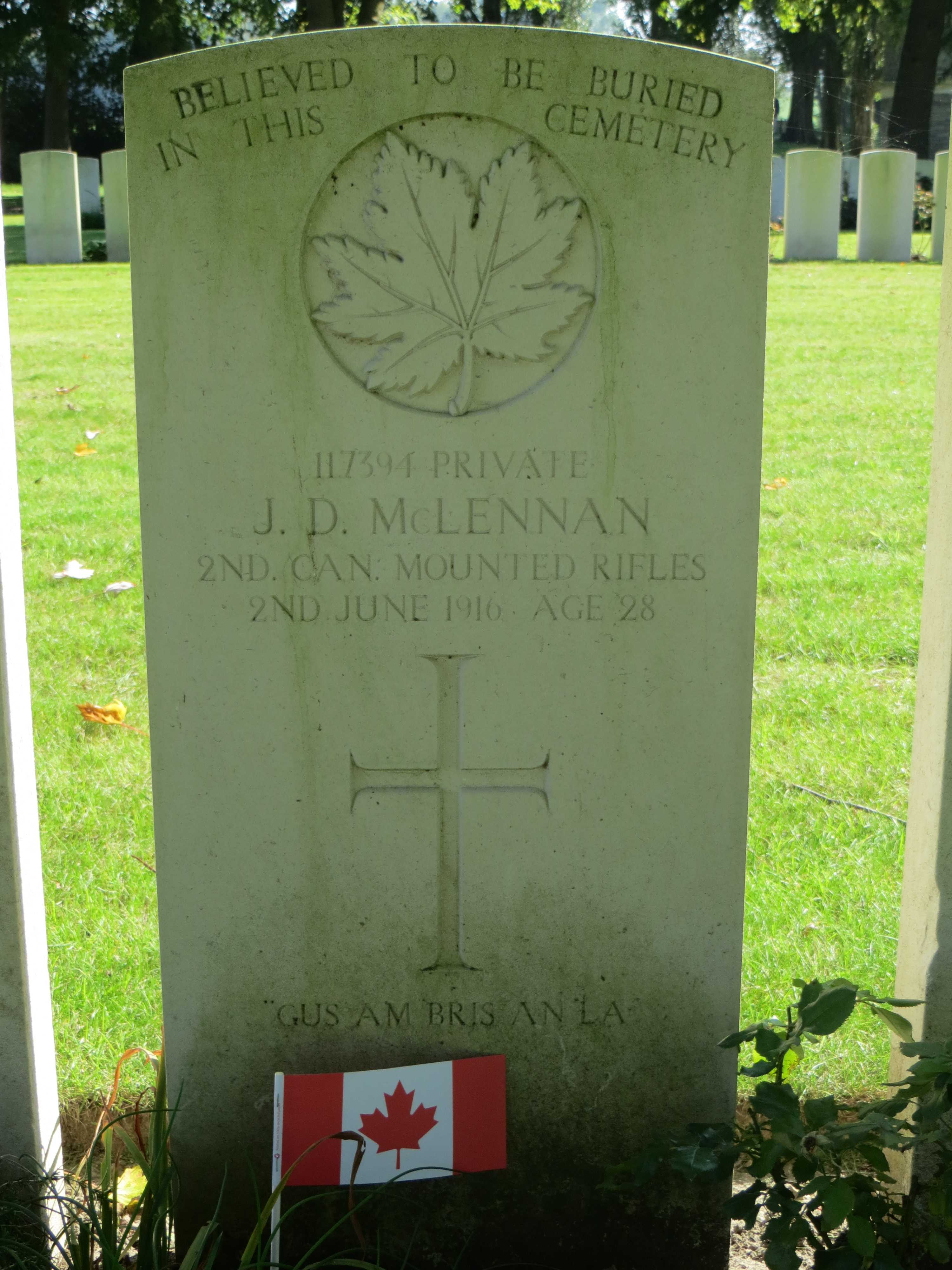 Grave marker– Headstone for John Donald McLennan at Maple Copse Cemetery - September 2017. May he rest in peace.