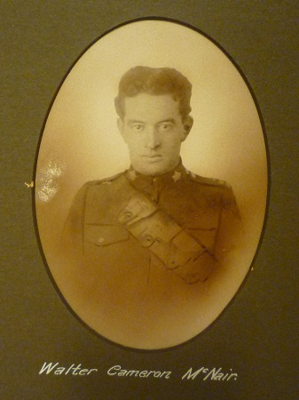 Photo of Walter Cameron McNair– This image comes from a large framed tribute in St. John's Presbyterian Church, Broadview Avenue, Toronto. Ontario Canada.  He and thirty-two other men are remembered here for their service in WWI.