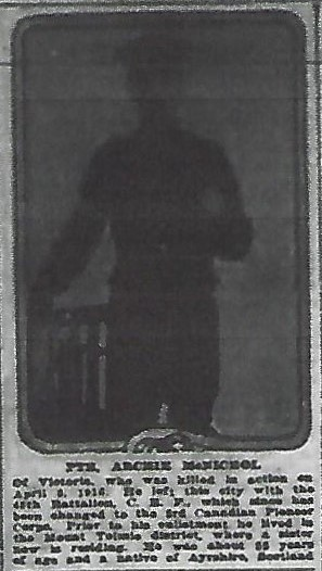 Newspaper clipping– From the Daily Colonist of April 21, 1916. Image taken from web address of https://archive.org/stream/dailycolonist58y113uvic#mode/1up