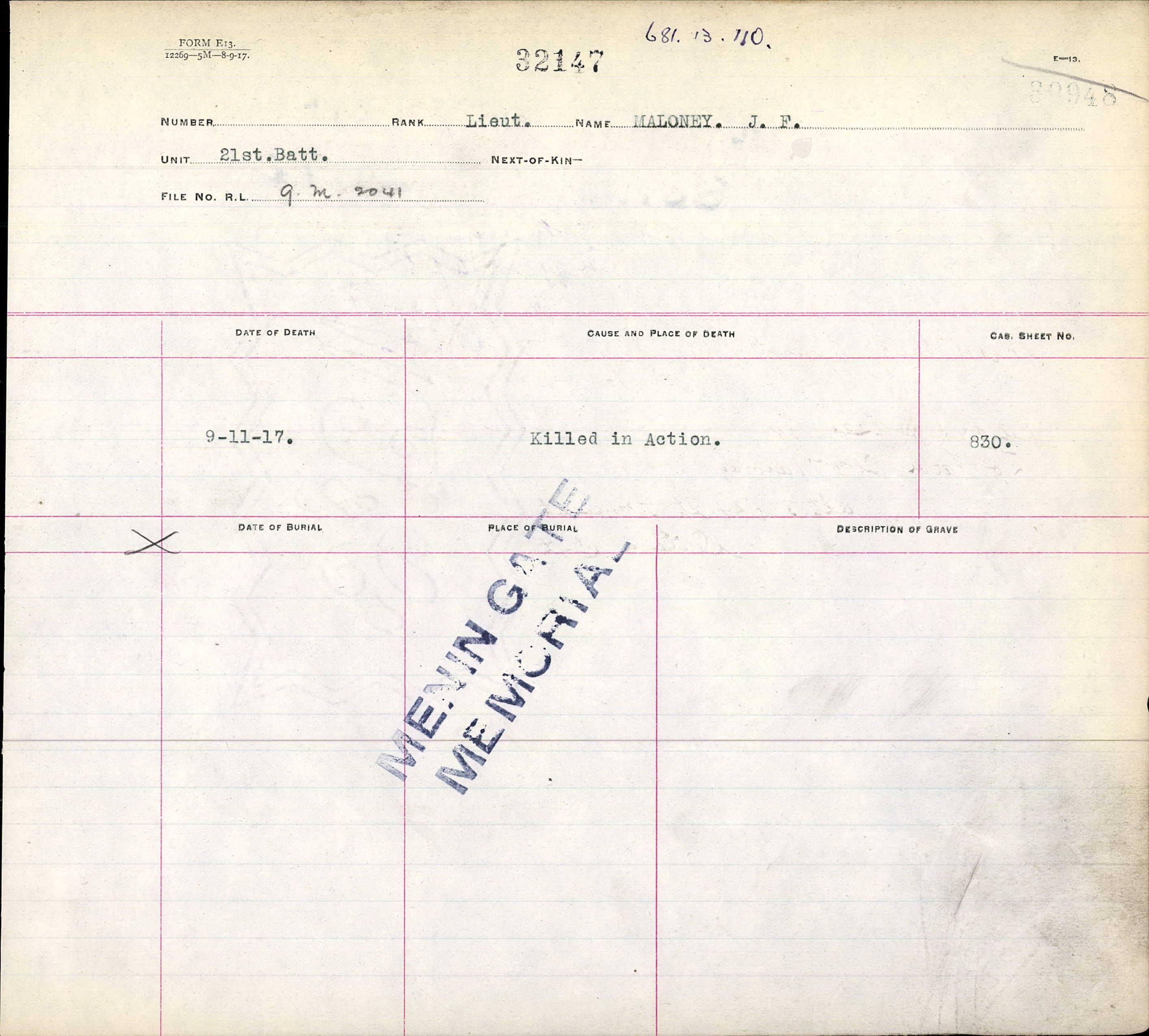 War Graves Register