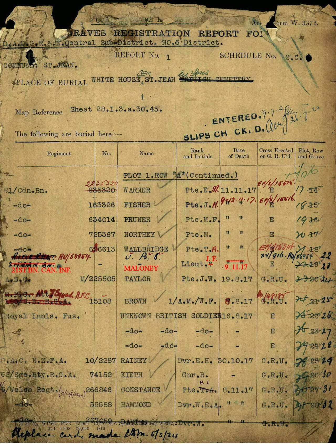 """Graves Registration Report Form– Lt. John Francis Maloney of the 21st Infantry Battalion was a soldier of the Canadian Expeditionary Force with """"No Known Grave"""" from 1917 until the case was resolved by CEFSG Member Al Lloyd in 2009. Lt. Maloney was the only Lieutenant of the 21st Battalion missing and on the Menin Gate Memorial. Once his grave site had been identified, the Graves Registration Report Form (GRRF) at the Commonwealth War Graves Commission (CWGC) was amended to record the new information."""