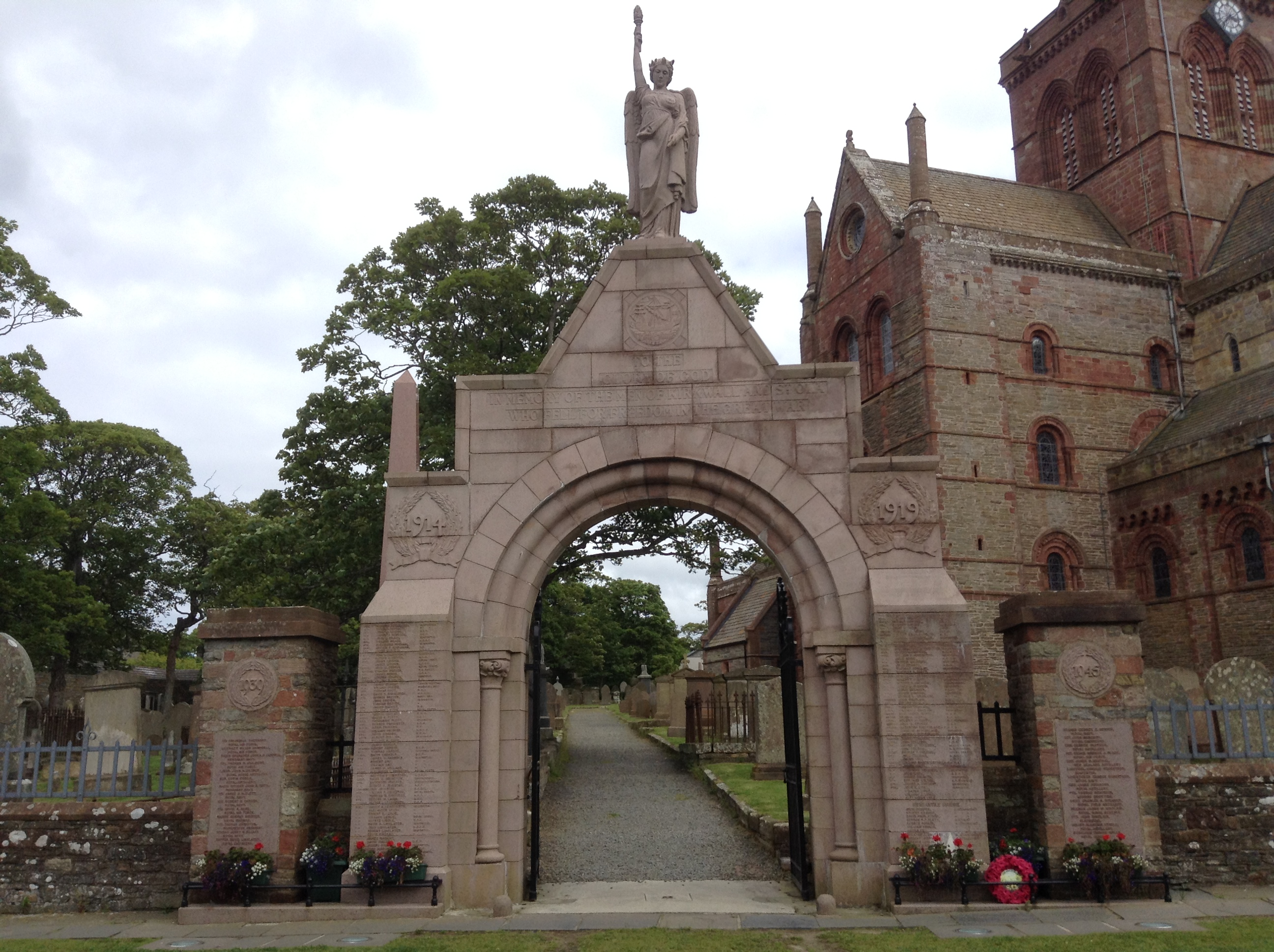War Memorial– The War Memorial at St. Magnus Cathedral in Kirkwall, Orkney Islands, Scotland. Image taken 7 July 2017 by Tom Tulloch.
