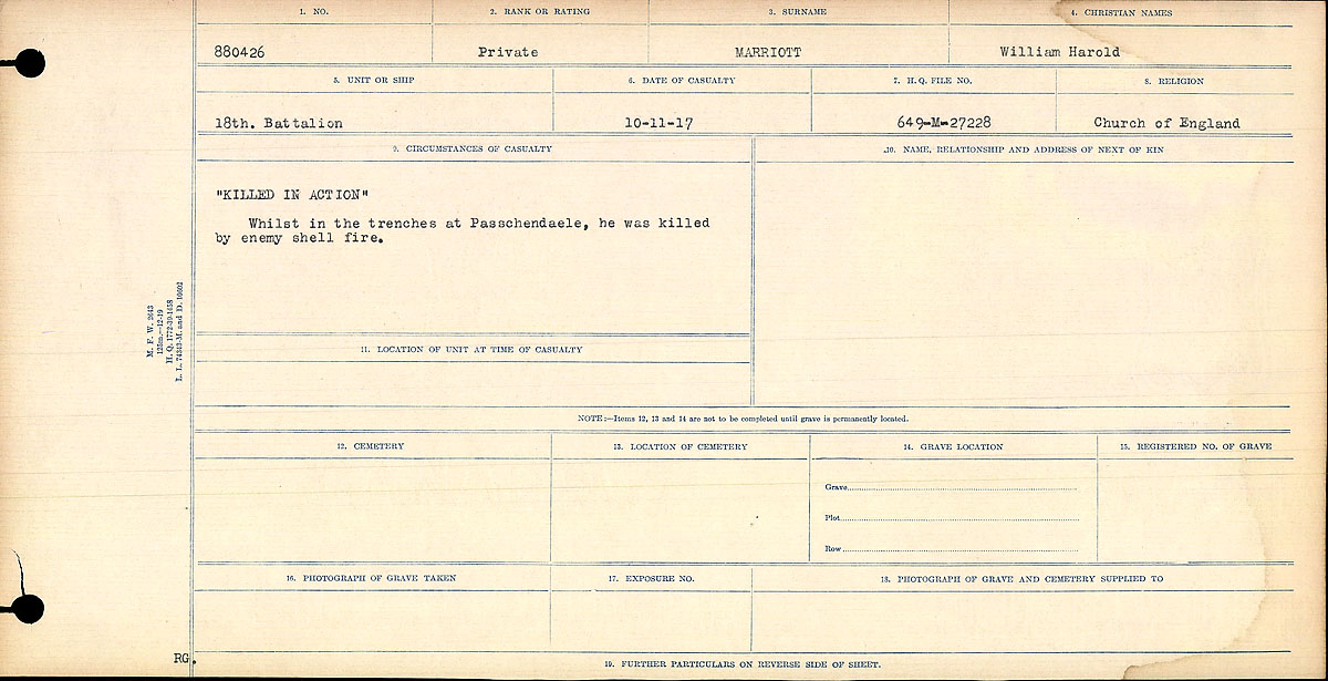 """Circumstances of Death Registers– """"Killed in Action"""" Whilst in the trenches at Passchendaele,he was killed by enemy shell fire.  Contributed by E.Edwards www.18thbattalioncef.wordpress.com"""