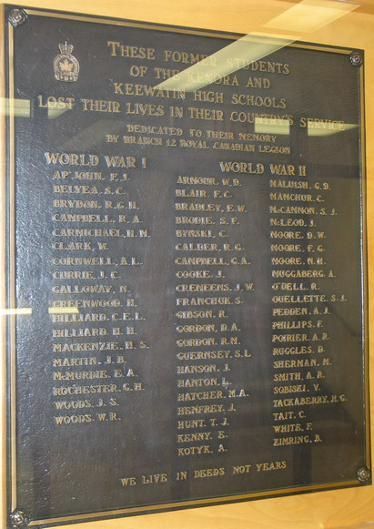Memorial Plaque– Kenora Keewatin High School plaque, courtesy of Kenora Great War Project