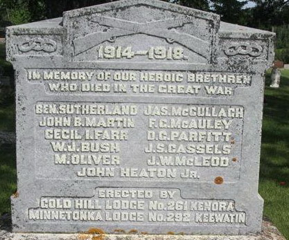 Memorial– Kenora Lodges Memorial, courtesy of Kenora Great War Project