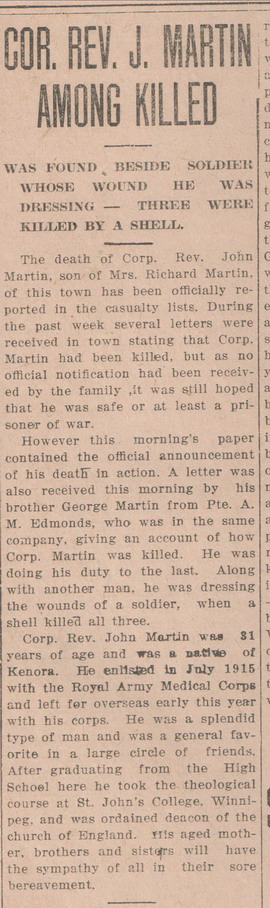 Newspaper Clipping– courtesy of Kenora Miner and News Archives and the Kenora Great War Project