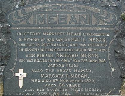 Memorial– Gravestone in 2nd Broughshane Presbyterian Churchyard