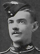 Photo of JOHN CARSON MERCER– Pte J C Mercer as depicted in the December 1918 edition of The Christmas Echo published in London Ontario