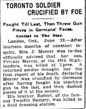 Press Clipping– In memory of the members of the 15th, 92nd and 134th Battalions (48th Highlanders) who went to war and did not return. Submitted by the 48th Highlanders Museum 73 Simcoe St. Toronto for the project, Operation: Picture Me.