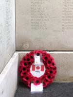 Memorial– William Mew's name on the Menin Gate, with the wreath I laid in his memory, acknowledging his Canadian home, though an English man by birth. This was on 24th July 2017, after the ceremony for the 90th anniversary of the unveiling of the Menin Gate, which was a wonderful event. I then went back for the Last Post at 8pm. If you ever get the chance to go to that, please do - and be there early, it is always crowded!