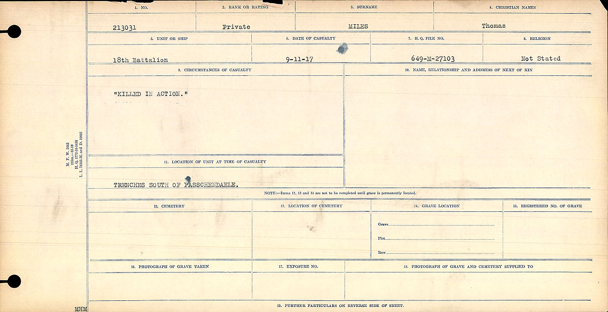"""Circumstances of Death Registers– Circumstances of Death Register """"Killed in Action"""""""